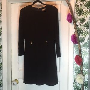 Black dress .Sz 12 . Long sleeve . Gold zi…